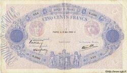 500 Francs BLEU ET ROSE modifié FRANCE  1939 F.31.32 TTB