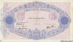 500 Francs BLEU ET ROSE modifié FRANCE  1939 F.31.49 TTB
