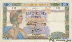 500 Francs LA PAIX FRANCE  1940 F.32.01 pr.TTB