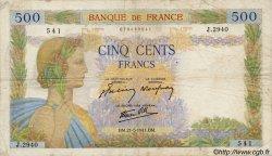 500 Francs LA PAIX FRANCE  1941 F.32.17 TB