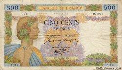 500 Francs LA PAIX FRANCE  1942 F.32.26 B+
