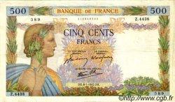 500 Francs LA PAIX FRANCE  1942 F.32.27 TB à TTB