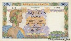 500 Francs LA PAIX FRANCE  1942 F.32.34 TTB+ à SUP