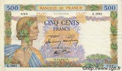 500 Francs LA PAIX FRANCE  1942 F.32.34 TTB+