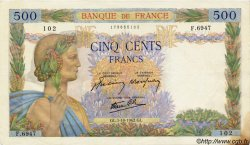 500 Francs LA PAIX FRANCE  1942 F.32.41 TTB+