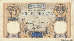 1000 Francs CÉRÈS ET MERCURE type modifié FRANCE  1937 F.38 TB