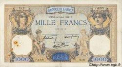 1000 Francs CÉRÈS ET MERCURE type modifié FRANCE  1938 F.38.18 TB+