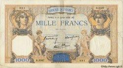 1000 Francs CÉRÈS ET MERCURE type modifié FRANCE  1938 F.38.23 TB+