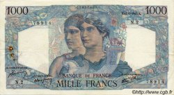 1000 Francs MINERVE ET HERCULE FRANCE  1945 F.41.01 TB+
