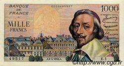 1000 Francs RICHELIEU FRANCE  1953 F.42.01 pr.SPL