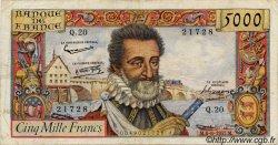5000 Francs HENRI IV FRANCE  1957 F.49.02 TB