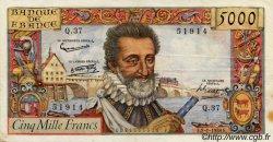 5000 Francs HENRI IV FRANCE  1958 F.49.05 pr.TTB