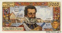 5000 Francs HENRI IV FRANCE  1958 F.49.06 pr.SUP