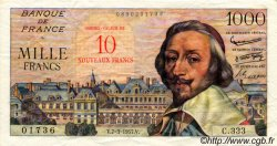 10 NF sur 1000 Francs RICHELIEU FRANCE  1957 F.53.01 SUP+