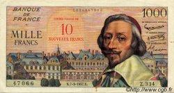 10 NF sur 1000 Francs RICHELIEU FRANCE  1957 F.53.01 pr.SUP
