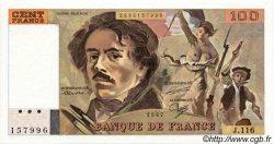 100 Francs DELACROIX modifié FRANCE  1987 F.69.11 SUP à SPL