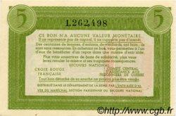 5 Francs BON DE SOLIDARITÉ FRANCE régionalisme et divers  1941 KL.05D1 NEUF