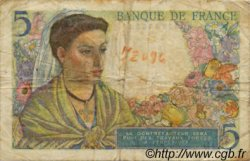5 Francs BERGER FRANCE  1943 F.05 B+ à TB