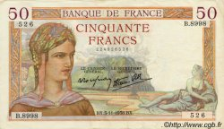 50 Francs CÉRÈS modifié FRANCE  1937 F.18 TTB