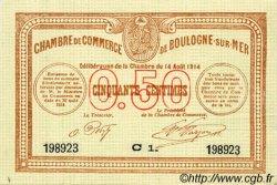 50 Centimes FRANCE régionalisme et divers BOULOGNE-SUR-MER 1914 JP.031.11 NEUF