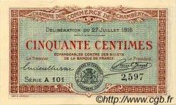 50 Centimes FRANCE régionalisme et divers Chambéry 1916 JP.044.07 NEUF