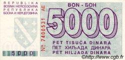 5000 Dinara BOSNIE HERZÉGOVINE  1992 P.027a SPL