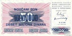 10000000 Dinara BOSNIE HERZÉGOVINE  1993 P.036 NEUF