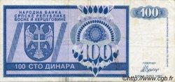 100 Dinara BOSNIE HERZÉGOVINE  1992 P.135a TTB