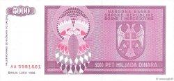 5000 Dinara BOSNIE HERZÉGOVINE  1992 P.138a NEUF