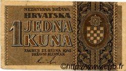 1 Kuna CROATIE  1942 P.07 TTB