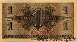 1 Kuna CROATIE  1942 P.07 SPL