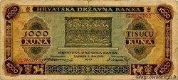 1000 Kuna CROATIE  1943 P.12 TB