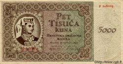 5000 Kuna CROATIE  1943 P.14 TTB