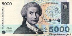 5000 Dinara CROATIE  1992 P.24a SUP