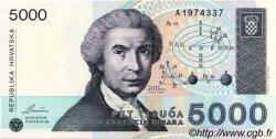 5000 Dinara CROATIE  1992 P.24a NEUF