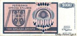 1000 Dinara CROATIE  1992 P.R05a TTB