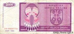 5000 Dinara CROATIE  1992 P.R06a pr.TTB