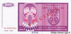 5000 Dinara CROATIE  1992 P.R06s NEUF