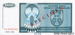 10000 Dinara CROATIE  1992 P.R07s NEUF