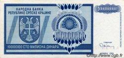 100000000 Dinara CROATIE  1993 P.R15a SUP