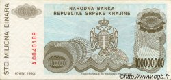 100000000 Dinara CROATIE  1993 P.R25a SUP