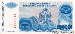 5 000 000 000 Dinara CROATIE  1993 P.R27a NEUF