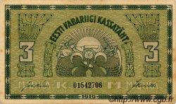 3 Marka ESTONIE  1919 P.44b SUP+