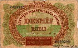10 Rubli LETTONIE  1919 P.04f B+