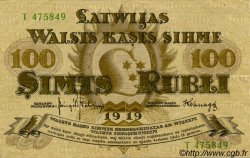 100 Rubli LETTONIE  1919 P.07f TTB