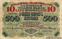 10 Latu sur 500 Rubli LETTONIE  1920 P.13a TTB+