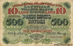10 Latu sur 500 Rubli LETTONIE  1920 P.13a TB+
