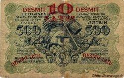 10 Latu sur 500 Rubli LETTONIE  1920 P.13a pr.TB