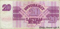 20 Rublu LETTONIE  1992 P.39 TB