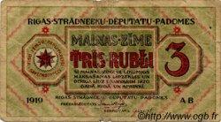 3 Rubli LETTONIE  1919 P.R2a B